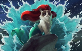 Picture cat, cartoon, the little mermaid