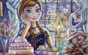 Picture winter, snow, night, candle, window, cake, frozen, disney, anna, Cold heart, olaf