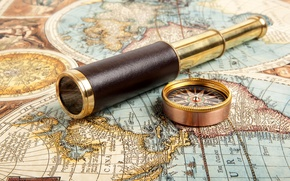 Wallpaper ancient map, mechanism, ancient map, compass, spyglass, journey, telescope, wallpaper., compass, blur, bokeh, telescope, travel