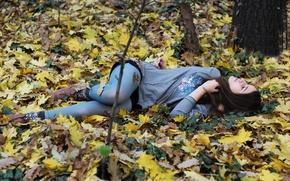 Wallpaper earth, tights, leaves, closed eyes, season, leaves, brunette, girl, resting, mood, girl, wood, blue, autumn, ...