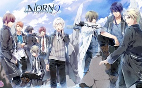 Picture gun, weapons, group, anime, art, guys, norn9