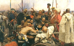 Wallpaper picture, The Cossacks writing letter to Turkish Sultan, Ilya Repin
