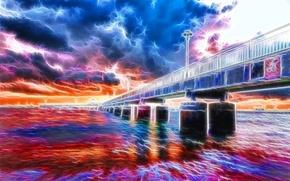 Picture the sky, clouds, landscape, bridge, river, support