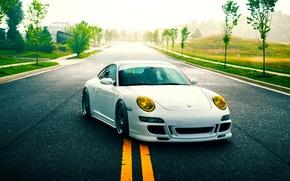 Picture 911, Porsche, Nature, Green, GT3, White, Road, Supercar, Stancenation