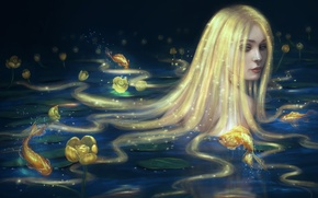 Picture look, water, girl, fish, mermaid, art, long hair, gold