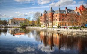 Picture trees, home, Sweden, promenade, Palace, turret, Örebro