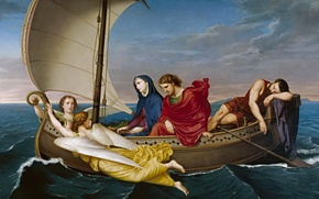 Picture sea, boat, picture, genre, mythology, Germán Hernández Amores, The journey of the virgin and St. …