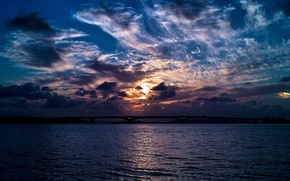 Picture sea, the sky, clouds, bridge, the evening