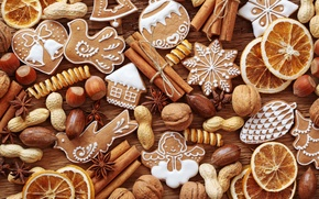 Picture New Year, cookies, Christmas, sweets, nuts, cinnamon, Christmas, citrus, figures, cakes, holidays, New Year, spices, …