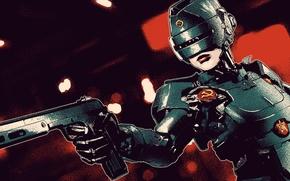 Picture gun, helmet, USSR, fan art, robocop, Soviet Union, robot girl