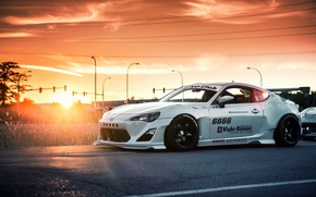 Picture car, sunset, white, tuning, sun, toyota gt86