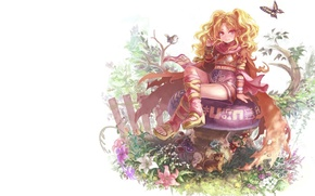 Picture summer, girl, flowers, fantasy, magic, butterfly, elf, mushroom, the fence, anime, signs, bird, dwarf, animals, …