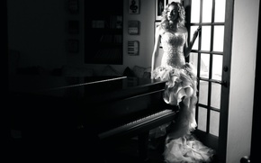 Picture girl, music, piano, fashion, vintage, young, retro, plan, glamour, blonde, elegant, gown, fifties, past elegance