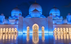 Picture backlight, mosque, Abu Dhabi, UAE, The Sheikh Zayed Grand mosque, Abu Dhabi, UAE, Sheikh Zayed …