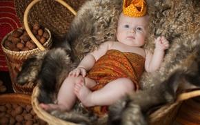 Picture child, baby, children, Anna Levankova, crown, fur, nuts, skin, basket