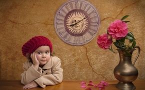 Picture flowers, table, wall, watch, girl, peonies