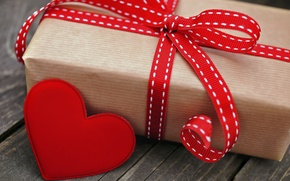 Wallpaper tape, holiday, box, gift, red, heart