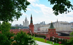 Picture summer, bridge, area, Moscow, The Kremlin, Russia, Moscow