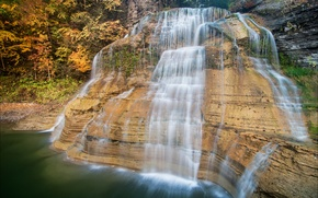 Picture autumn, forest, rock, waterfall