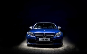 Picture Mercedes-Benz, Coupe, background, AMG, C-Class, Mercedes, blue, C205