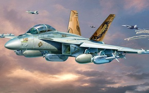 Picture figure, art, Boeing, Growler, EA-18, EW, carrier-based electronic warfare aircraft US Navy