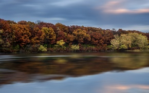 Picture the sky, water, trees, clouds, surface, reflection, river, Autumn