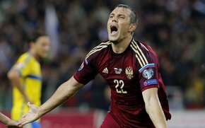 Wallpaper Team, football, Dzyuba, Artem Dzyuba, national team, Russia, Russia, football, joy, goal