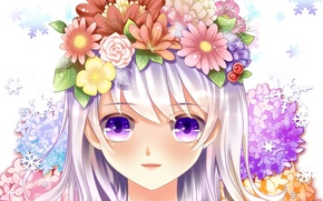Picture eyes, girl, flowers, face, smile, roses, anime, art, yuri
