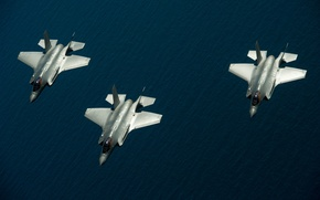 "Picture sea, fighters, three, flight, Lightning II, F-35, ""Lightning"" II"