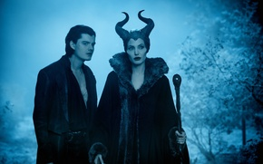 Picture guy, Maleficent, the film, night, witch, staff, horns, forest