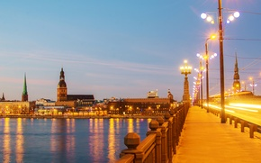 Wallpaper bridge, lights, river, home, the evening, lights, promenade, Riga, Latvia, Riga