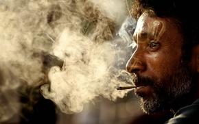 Wallpaper face, smoke, Male, Arab, hand-rolled cigarette