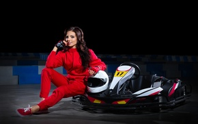 Picture smile, sport, woman, beautiful, athlete, car, cards, equipment, bokeh, training, wallpaper., practicing, carting, Varvara Snegireva, …