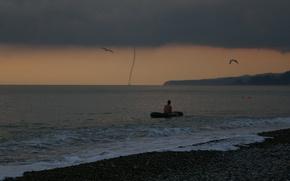 Picture sea, shore, tornado, tornado