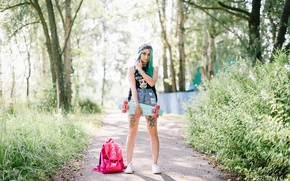 Picture look, girl, style, background, hair, color, skate
