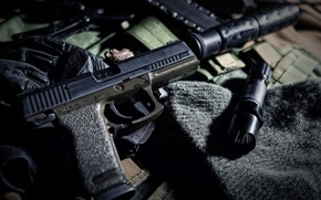 Wallpaper gun, blur, lantern, camouflage, muffler, equipment, ammunition, bokeh, tactical, wallpaper., HK 45, PBS