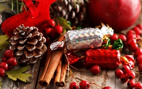 Picture berries, Apple, food, sticks, New Year, Christmas, candy, sweets, red, cinnamon, Christmas, bumps, holidays, New …