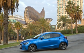 Picture photo, Mazda, Blue, Mazda, Car, Side, 2014, Metallic, Mazda 2