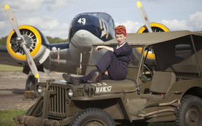 """Picture girl, jumpsuit, """"Willis-MV"""", Jeep, sitting, fighter, Willys MB"""