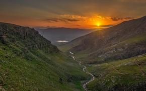 Picture the sun, landscape, sunset, mountains, nature, beauty
