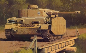 Wallpaper figure, the Germans, the Wehrmacht, Panzer 4, medium tank, Wrobel, PzKfw 4 Ausf H