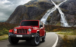 Picture road, machine, mountains, waterfall, jeep, car, Jeep, 2015, Wrangler X