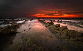 Wallpaper sea, clouds, glow, the sky, rocks, sunset