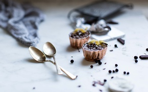 Picture dessert, chocolate, spoons