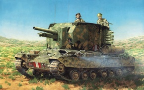 Picture art, tank, installation, artillery, SAU, British, Valentine, Valentine, WW2., tank, database, times, self-propelled, howitzers, self-propelled, …