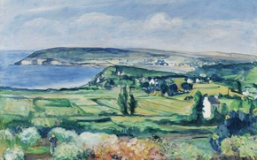 Picture sea, landscape, house, picture, valley, Henri Lebacq, Finistere, The Plain of Crozon