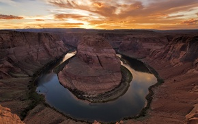 Picture nature, dawn, canyon, the Colorado river, Horseshoe, Horseshoe Bend, river Horseshoe
