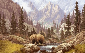 Picture forest, grass, mountains, river, stones, picture, bear, painting