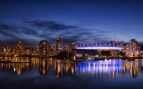 Picture the sky, clouds, night, the city, reflection, building, home, skyscrapers, lighting, backlight, Canada, Bay, Vancouver, …