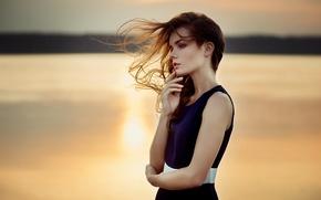 Picture girl, light, sunset, river, hair